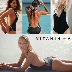 Vitamin A swim one piece Bianca cut out plunge NEW